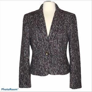 Sharagano Noir Wool Blend Shortie Blazer Sz 12